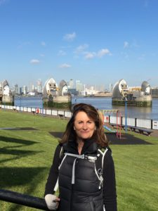Glorious sunshine at the Thames Barrier, at the start of the Trek