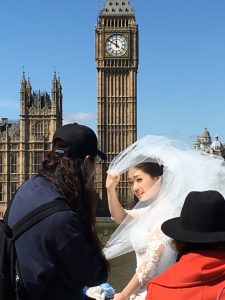Wedding photo shoot opposite Big Ben, happily still chiming