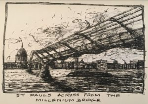 Day One Drawing .. St Paul's across from the Millenium Bridge
