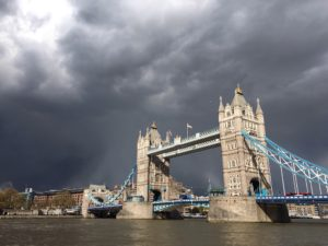 Storm clouds moving in at Tower Bridge