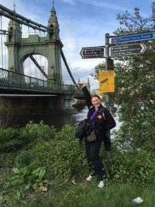 Jin in front of Hammersmith Bridge