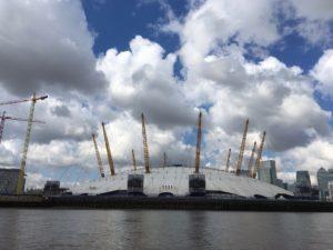 Dramatic clouds framing the O2 Stadium