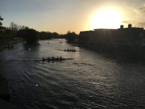 Eton crews rowing at dusk